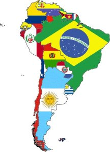 South America Map with flags